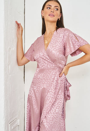 Jacquard Leopard Print Angel Sleeve Wrap Dress in Blush Pink - love frontrow