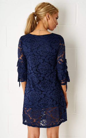 Janyice Lace Mini Dress In Navy - love frontrow