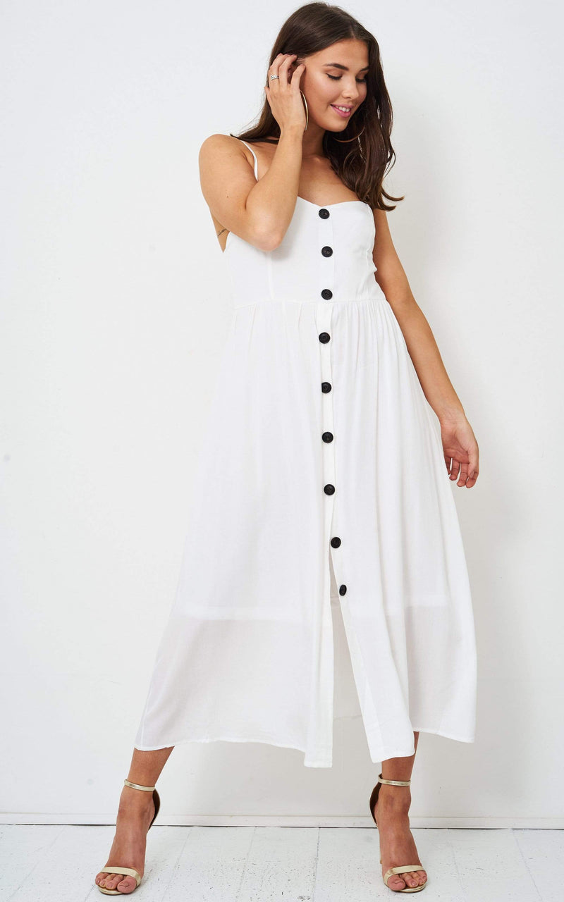 Josyie White Button Front Midi Dress - love frontrow