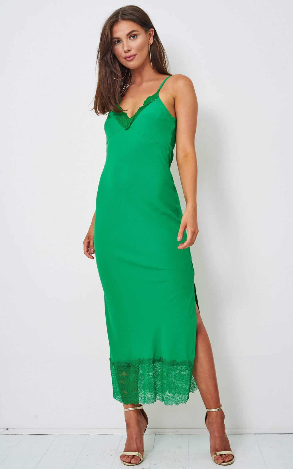 Karla Green Lace Hem Midi Satin Slip Dress - love frontrow