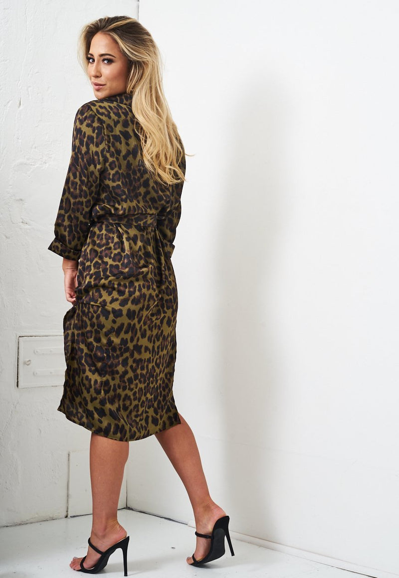 Khaki Leopard Print Wrap Dress - love frontrow
