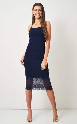 Klarya Navy Lace Hem Bodycon Dress - love frontrow
