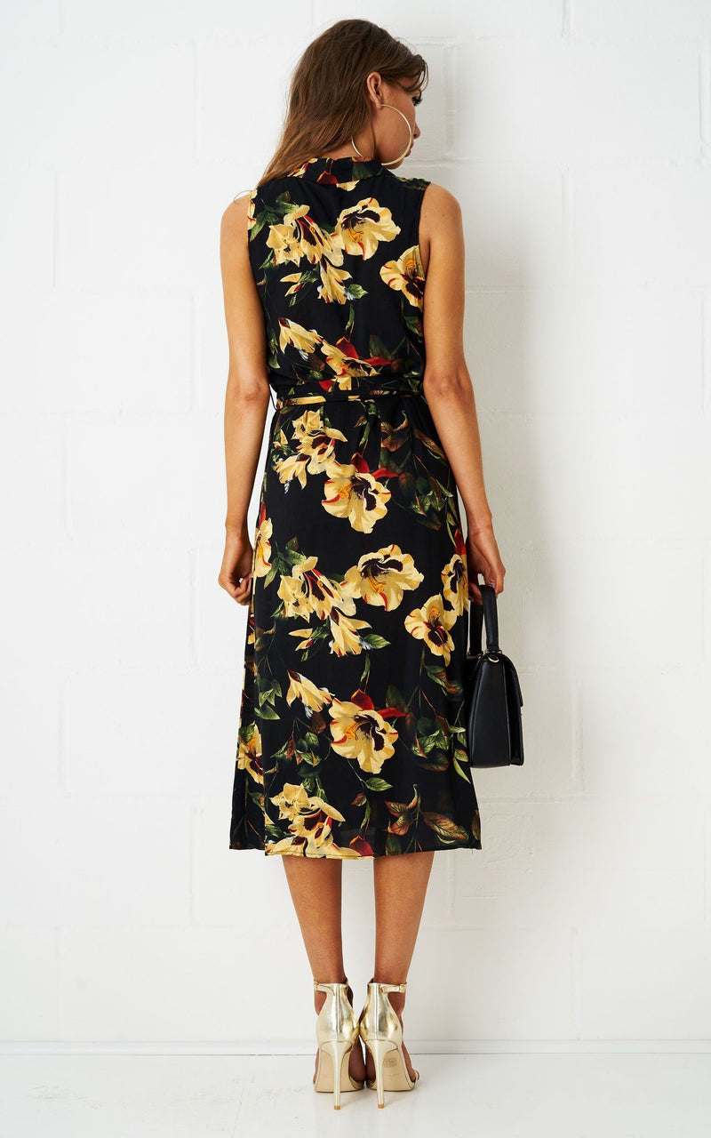Lehanne Floral Shirt Dress In Black - love frontrow