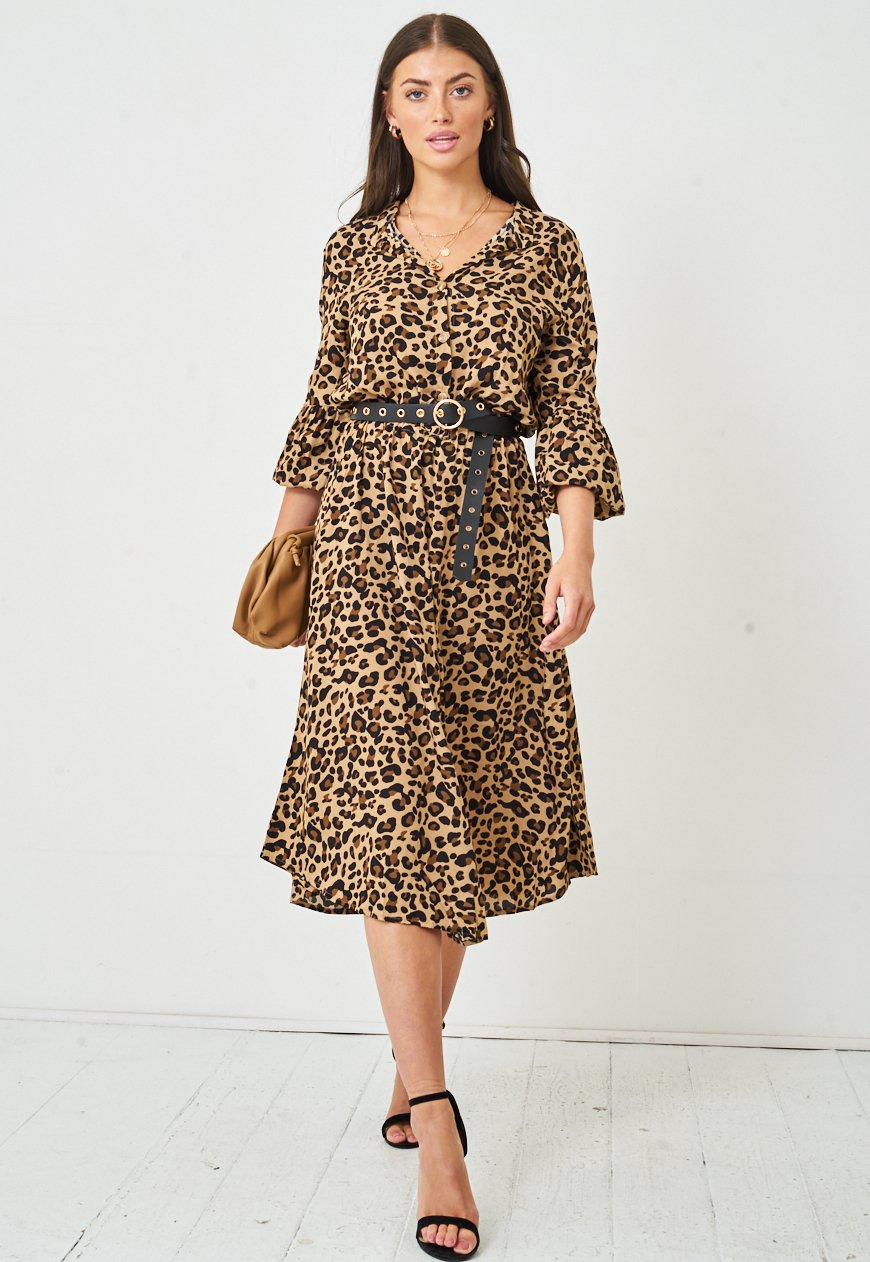 Leopard Print Long Sleeve Midi Dress | Brown - love frontrow