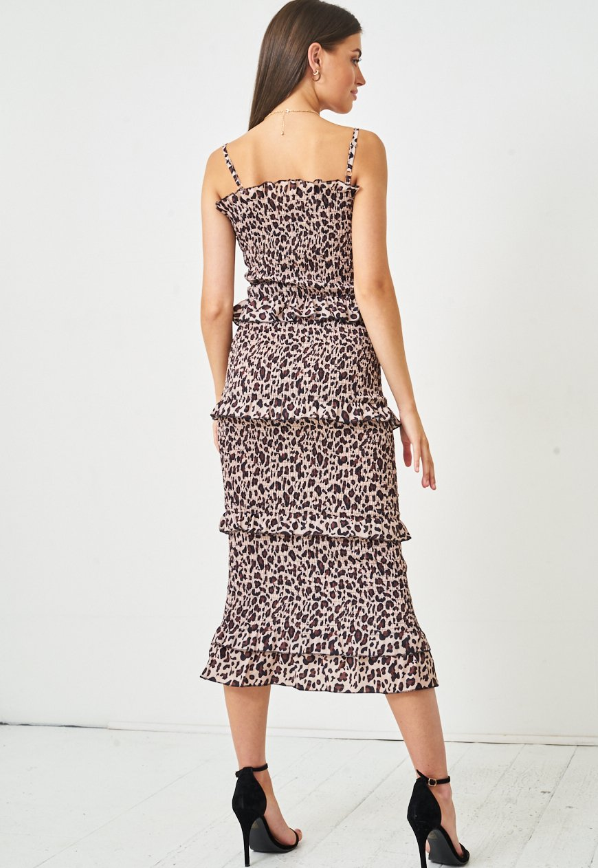 Leopard Print Shirred Midi Bodycon Dress - love frontrow