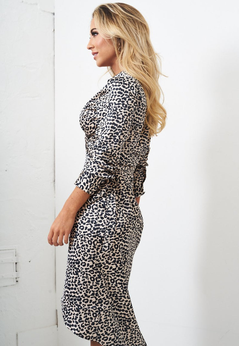 Leopard Print Wrap Dress - love frontrow