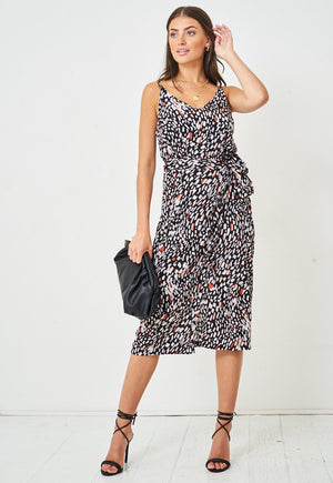 Leopard Print Wrap Effect Midi Cami Dress in Black - love frontrow