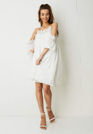 Lolita Cold Shoulder Smock Dress In White - love frontrow