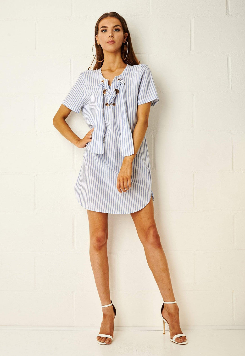 Martinique Blue Stripe Longline Shirt Dress - love frontrow