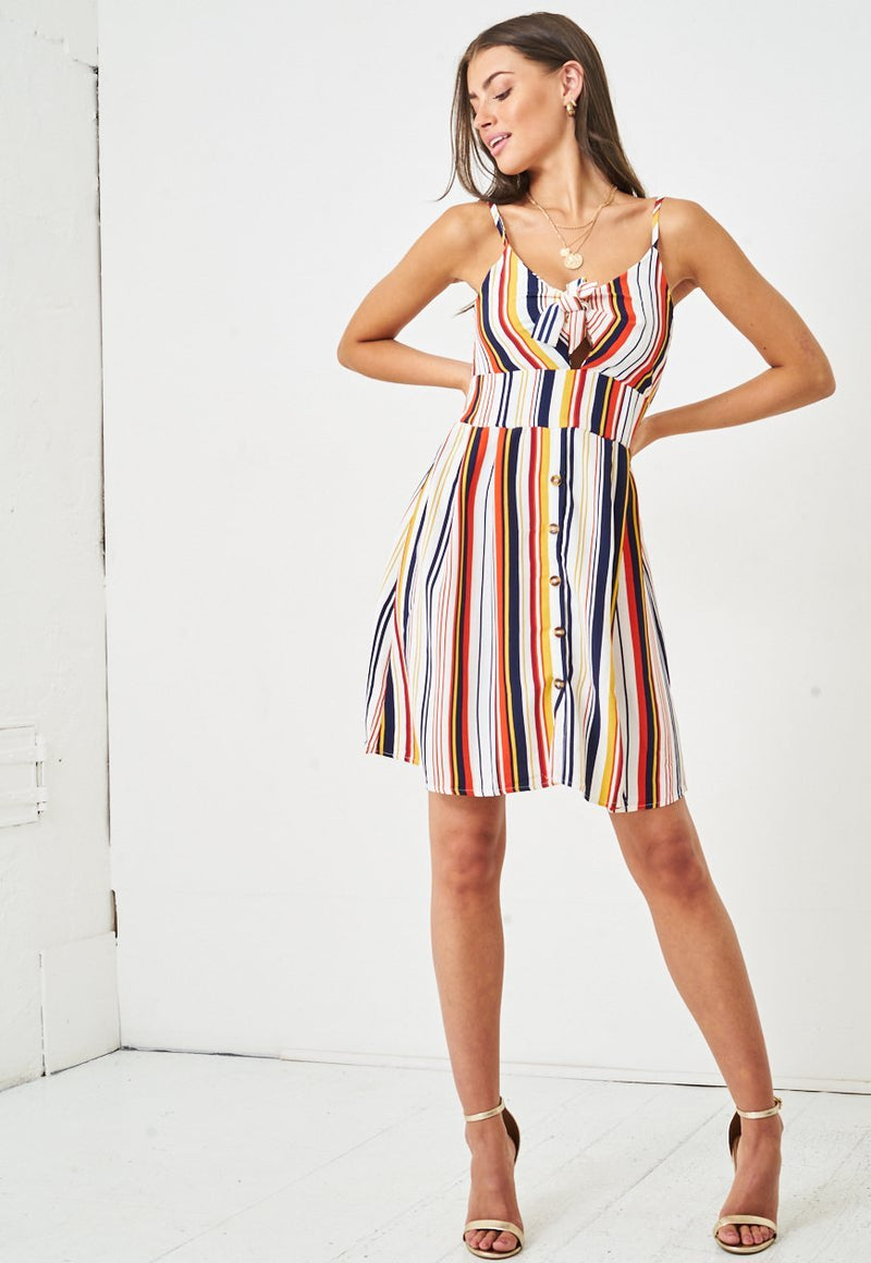 Rainbow Stripe Knot Front Detail Dress - love frontrow