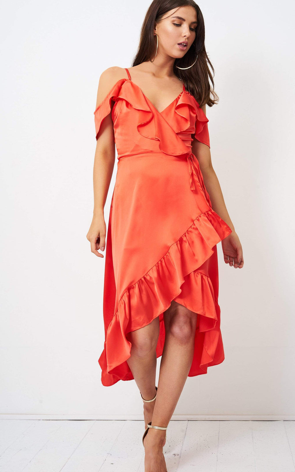 Nahara Orange Wrap Cold Shoulder Dress - love frontrow