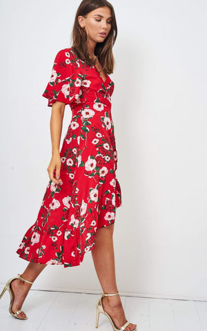 Naima Red Floral Batwing Wrap Dress - love frontrow