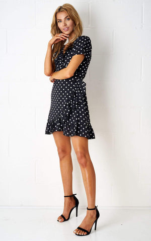 Nancyie Polka Dot Wrap Dress In Black - love frontrow