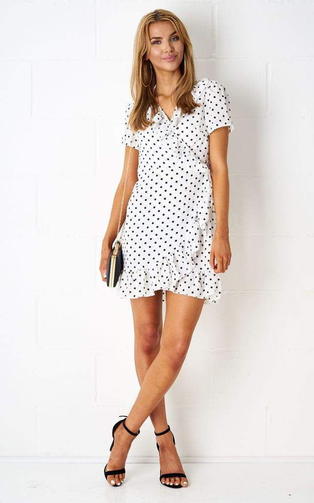 Nancyie Polka Dot Wrap Dress In White - love frontrow