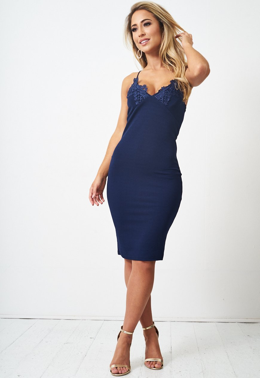 Navy Lace Applique Bodycon Dress - love frontrow