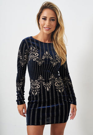 Navy Velvet Long Sleeve Mini Dress - love frontrow