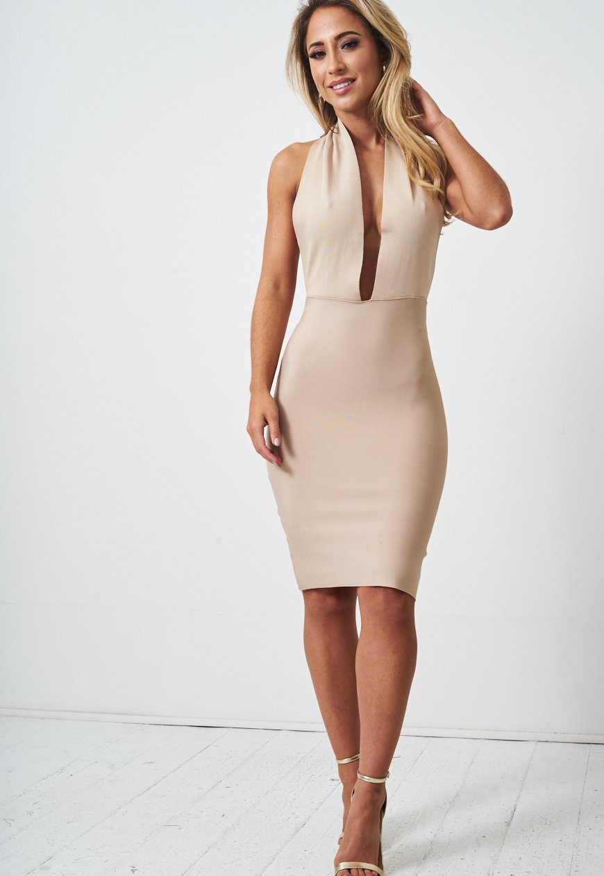 Nude Halterneck Bodycon Dress - love frontrow