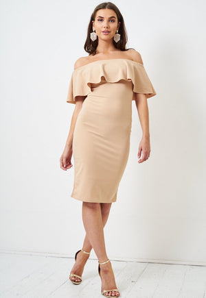 Nude Off Shoulder Bodycon Midi Dress - love frontrow