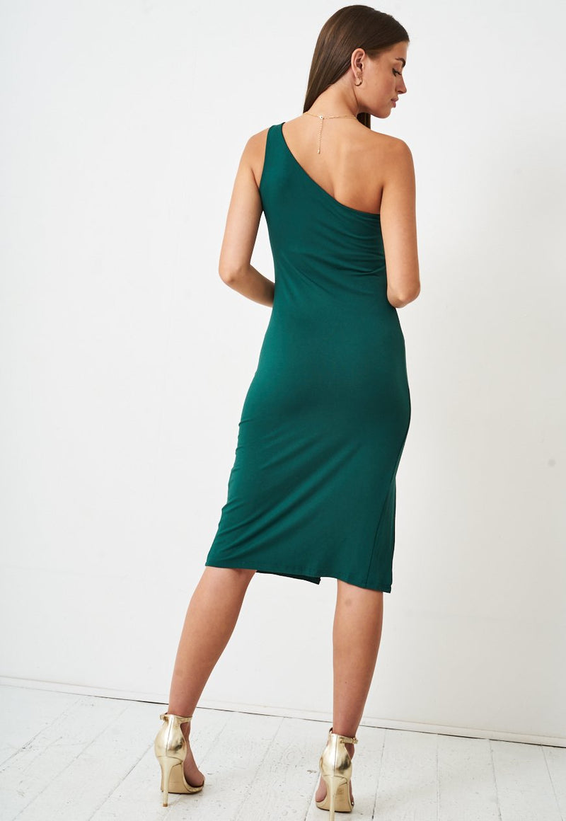 One Shoulder Jersey Bodycon Dress in Green - love frontrow