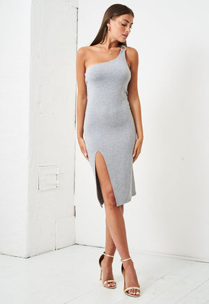 One Shoulder Jersey Dress in Grey - love frontrow