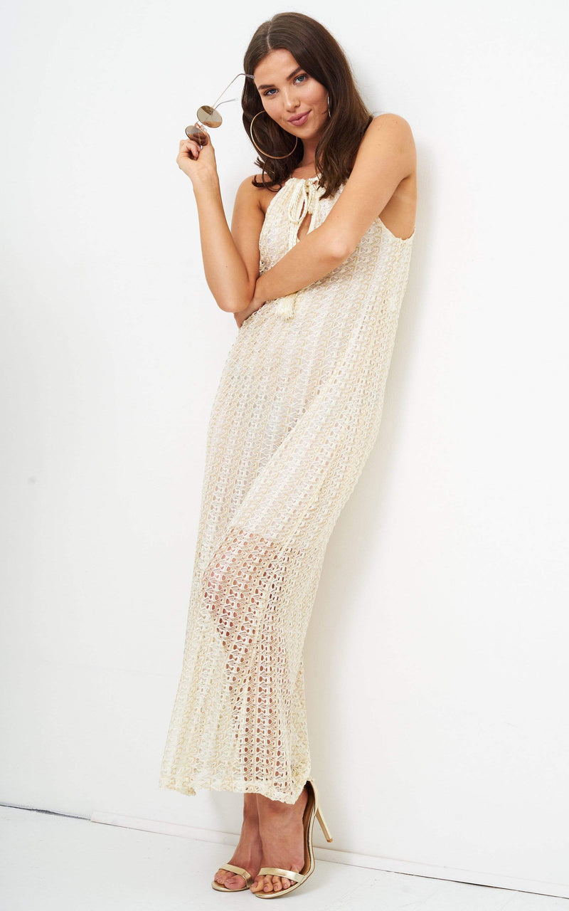Fabia Gold Metallic Crochet Knit Tassle Maxi Dress - love frontrow