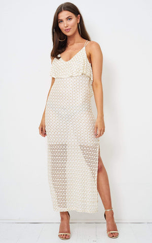 Jaela Gold Metallic Crochet Knit Maxi Dress - love frontrow