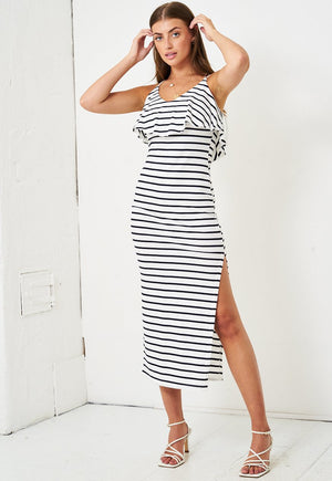 Navy And White Stripe Frill Midi Dress - love frontrow