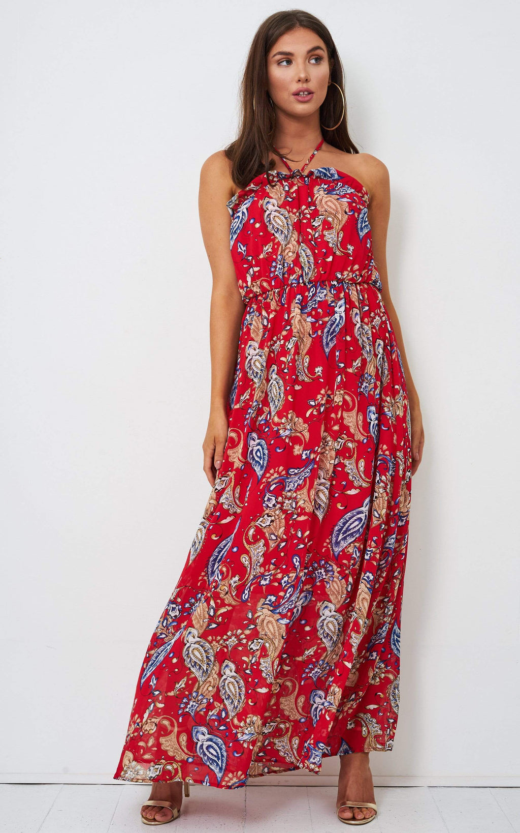 Tabitha Red Paisley Maxi Dress - love frontrow
