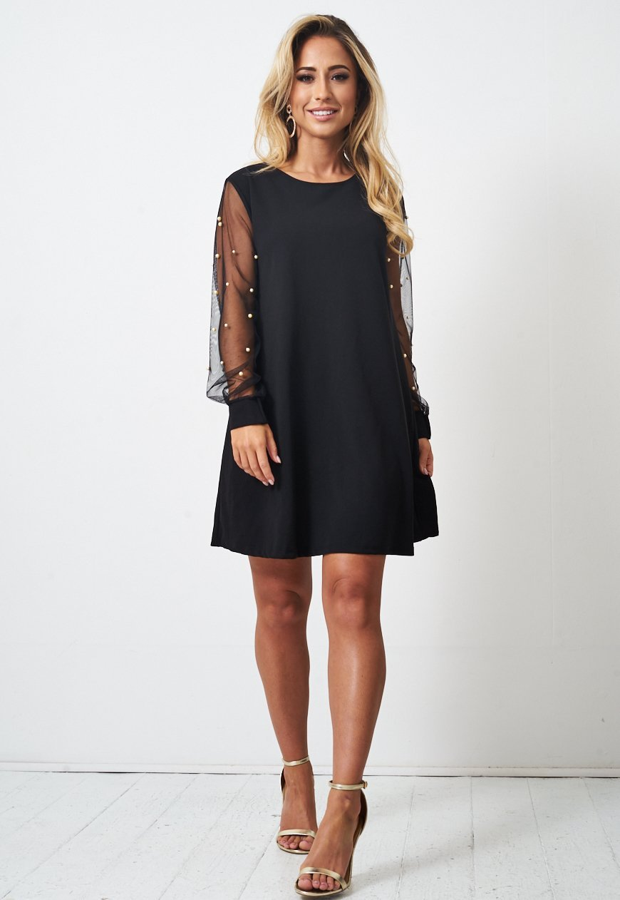 Pearl Embellished Long Sleeve Black Mini Dress - love frontrow
