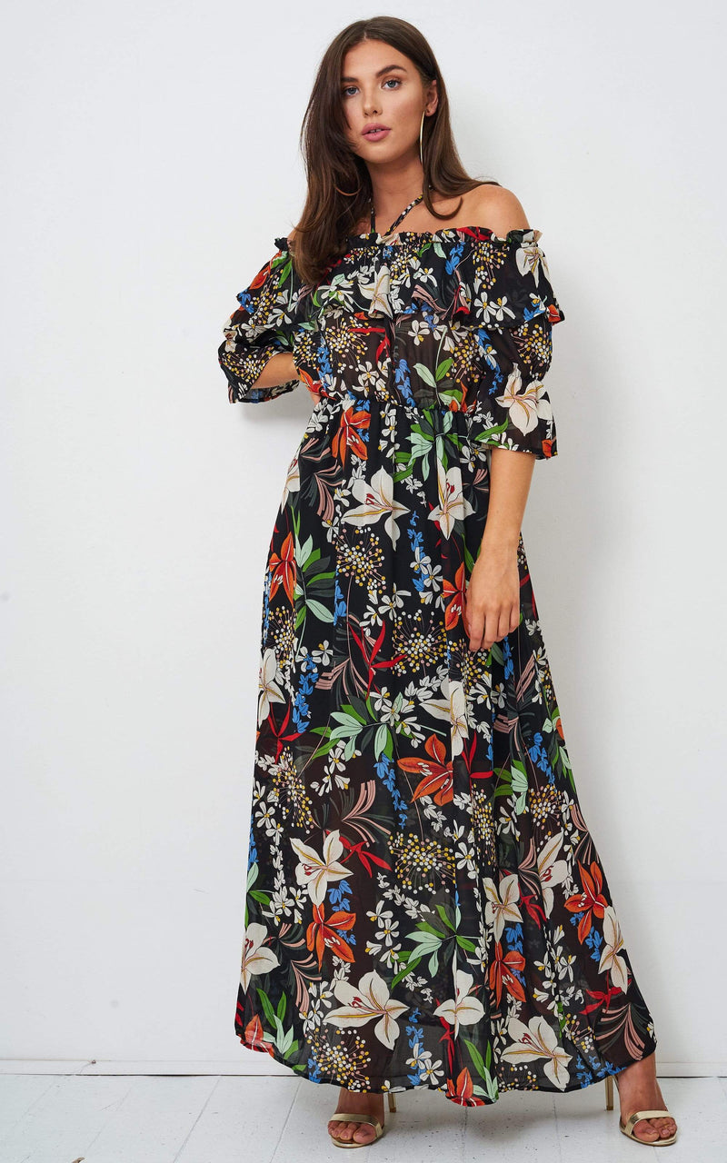 Phillipa Floral Off Shoulder Maxi Dress - love frontrow