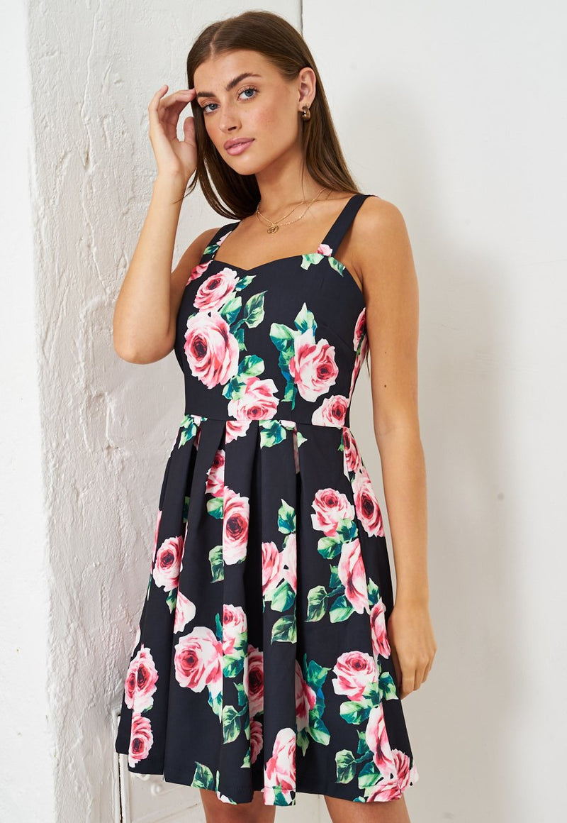 Pink Floral Print Mini Skater Dress in Black - love frontrow
