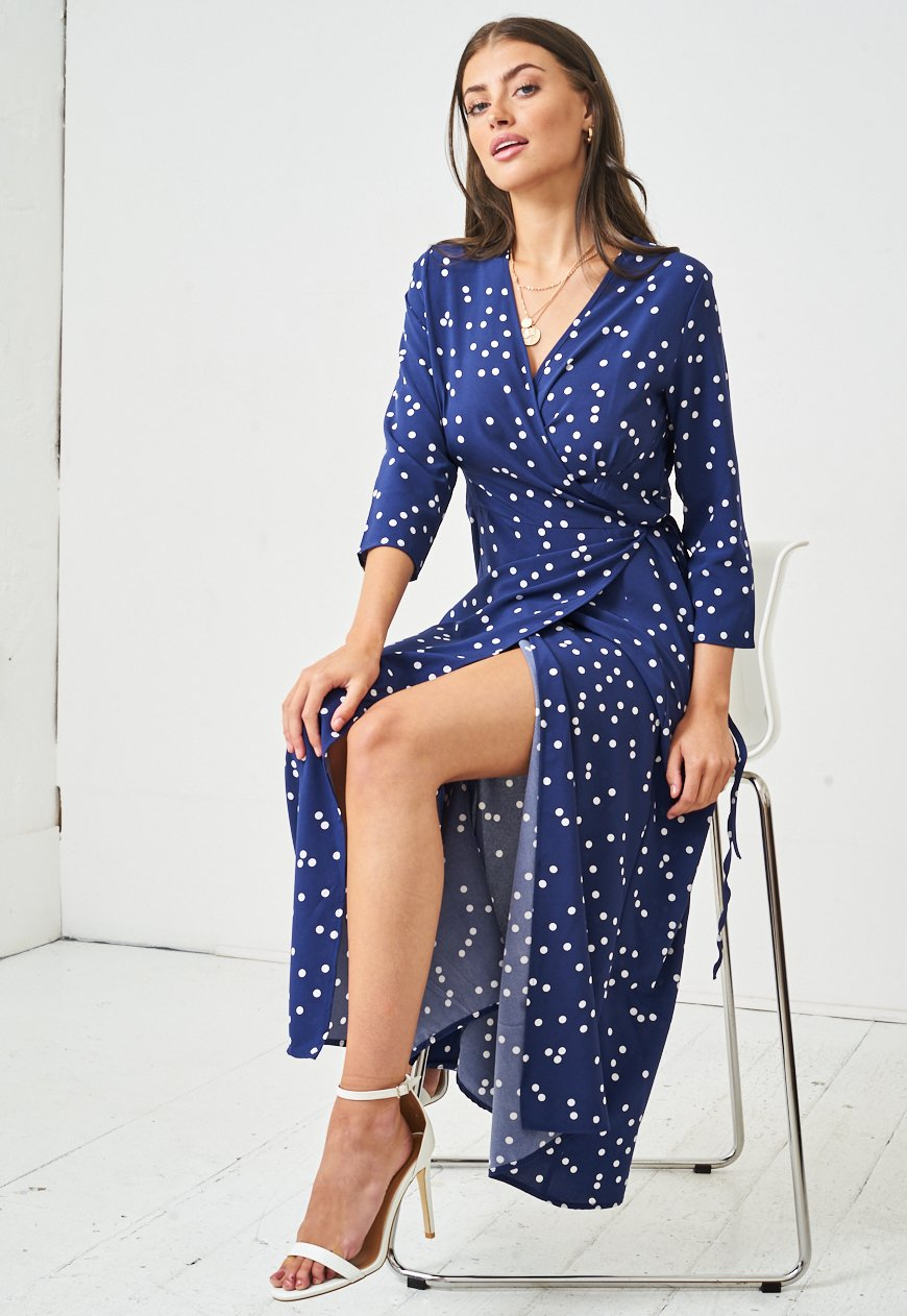 Polka Dot Spot Maxi Wrap Dress in Navy Blue - love frontrow