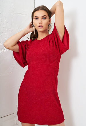 Red Lurex Mini Dress - love frontrow