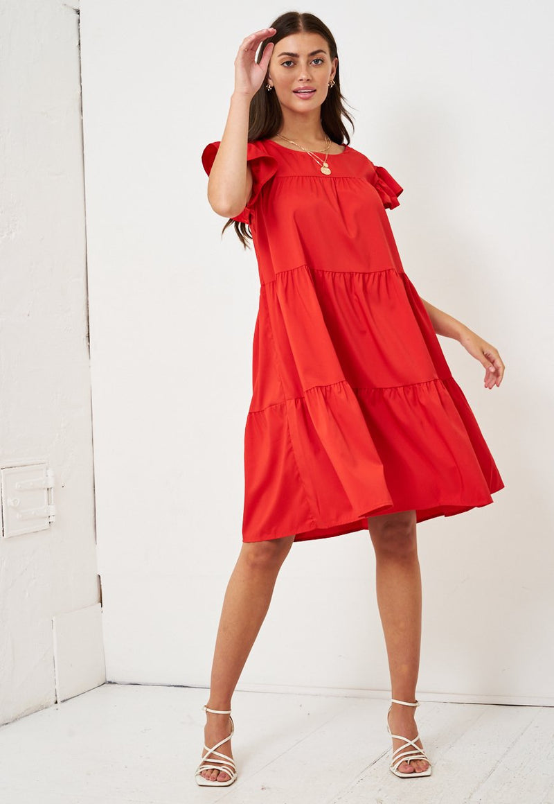 Red Tiered Smock Midi Dress - love frontrow