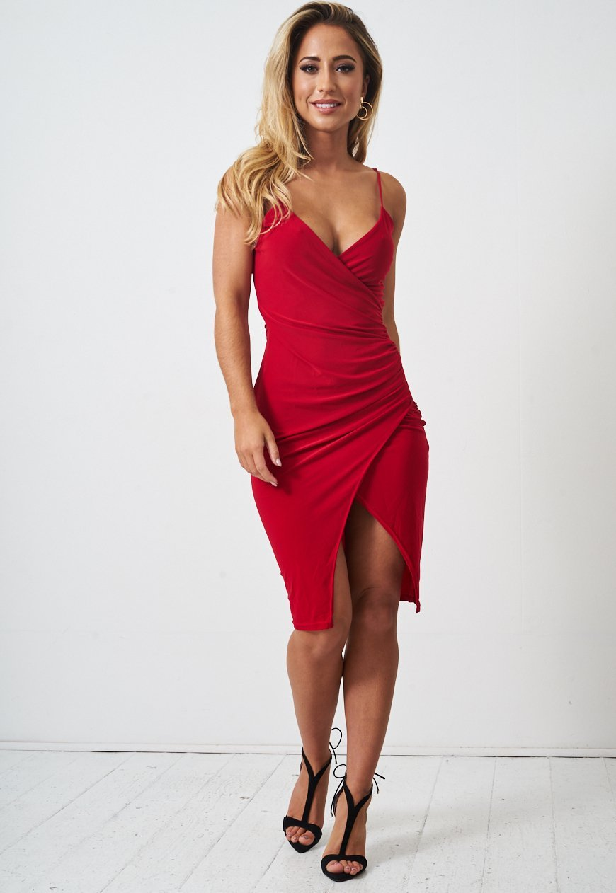 Red Wrap Effect Slinky Dress - love frontrow