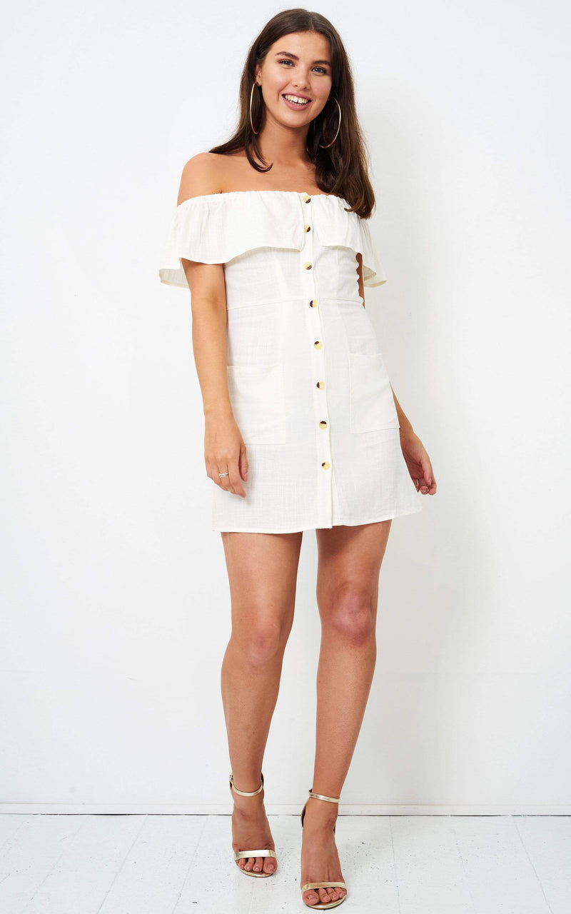 Regina Ivory Linen Bardot Mini Dress - love frontrow