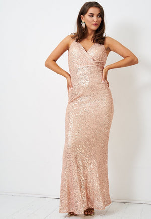 Rose Gold Sequin Wrap Front Gown - love frontrow