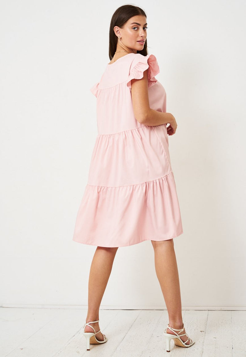 Rose Pink Tiered Smock Midi Dress - love frontrow