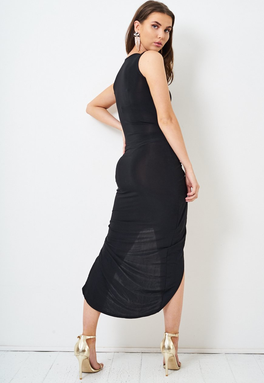 Ruched Slinky Black Dress - love frontrow