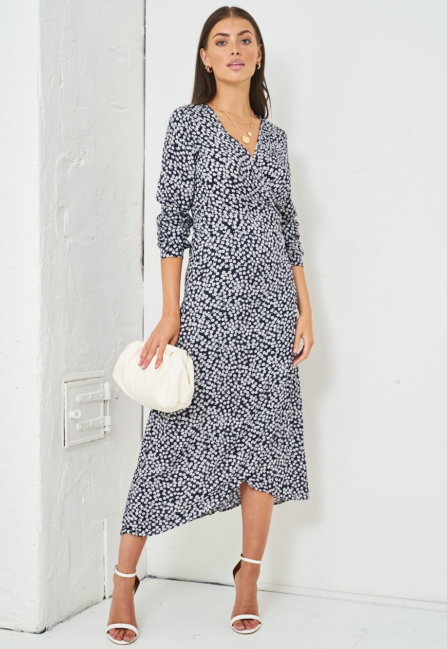 Floral Print Wrap Midi Dress in Navy - love frontrow