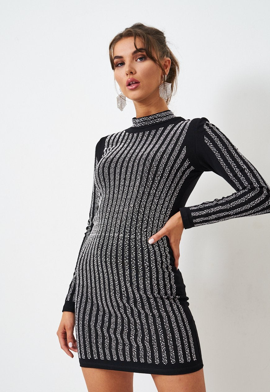 Black Long Sleeve Diamanté Mini Dress - love frontrow