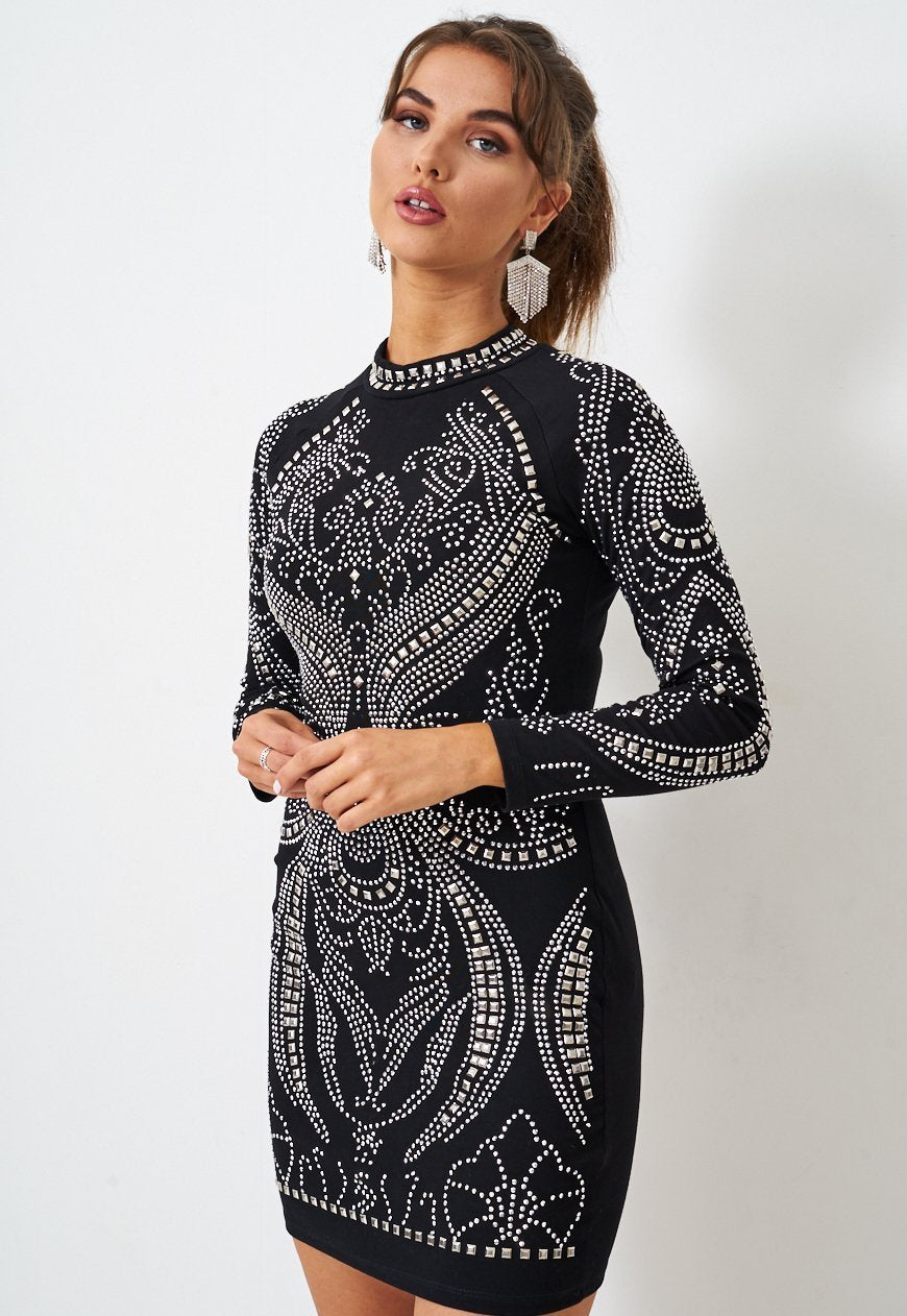 Black Long Sleeve Mini Dress with Embellishments - love frontrow