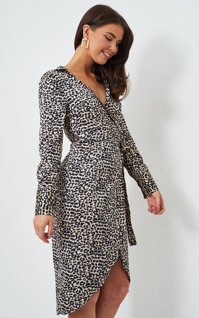 Sammi Nude Leopard Wrap Shirt Dress - love frontrow