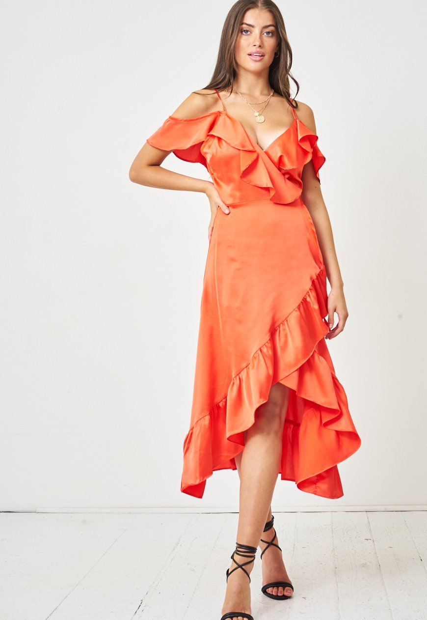 Satin Wrap Cold Shoulder Dress in Orange - love frontrow
