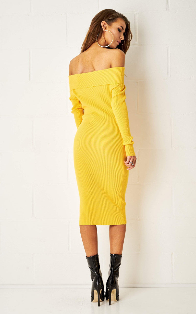 Savannah Yellow Bardot Long Sleeve Midi Dress - love frontrow