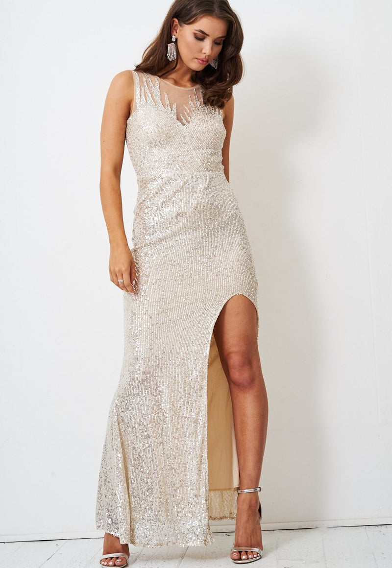 Silver Sequin Gown with Side Split - love frontrow
