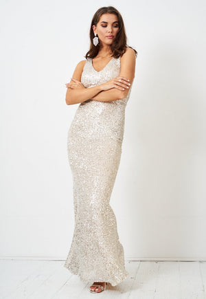 Silver Sequin Floor Length Gown - love frontrow