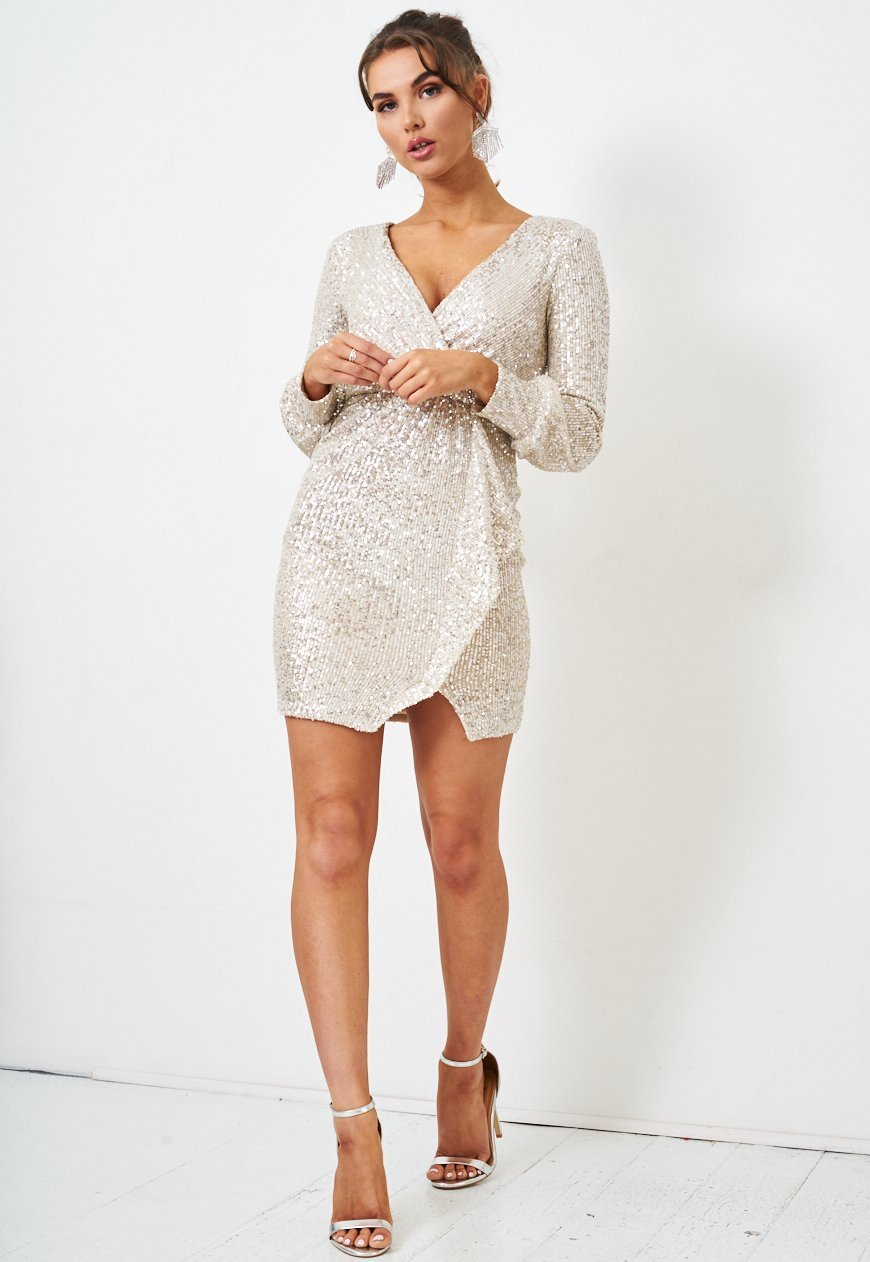Silver Wrap Effect Sequin Mini Dress - love frontrow