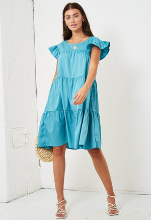 Sky Blue Tiered Smock Midi Dress - love frontrow