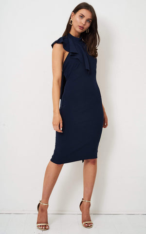 Solange Ruffle Bodycon Dress In Navy - love frontrow
